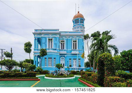 CIENFUEGOS, CUBA - MARCH 22, 2016: Hotel Palacio Azul an ecletic style palace in Cienfuegos Cuba