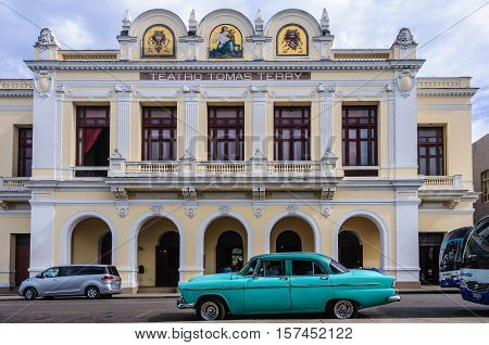CIENFUEGOS, CUBA - MARCH 22, 2016: Tomas Terry Theater in Jose Marti Park the UNESCO World Heritage main square of Cienfuegos Cuba