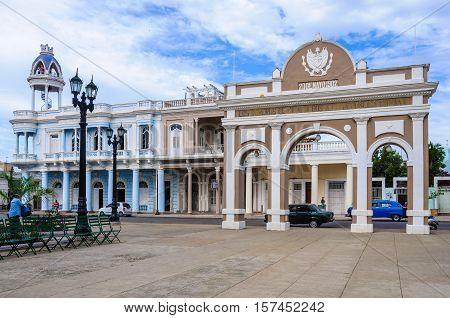 CIENFUEGOS, CUBA - MARCH 22, 2016: Arch of Triumph in Jose Marti Park the UNESCO World Heritage main square of Cienfuegos Cuba