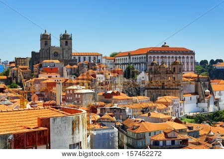 Colorful Facades And Roofs Of Houses In Porto, Portugal.