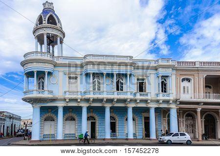 CIENFUEGOS, CUBA - MARCH 22, 2016: Palacio Ferrer in Jose Marti Park the UNESCO World Heritage main square of Cienfuegos Cuba