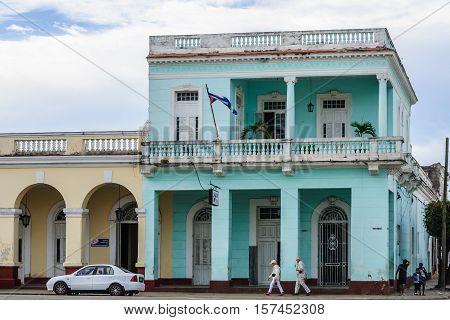 CIENFUEGOS, CUBA - MARCH 22, 2016: Colonial building in Jose Marti Park the UNESCO World Heritage main square of Cienfuegos Cuba