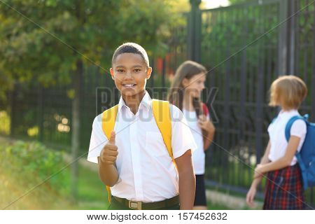 Teenager boy and his friends going to school