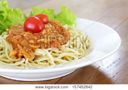 Spaghetti bolognese pasta with tomato sauce and minced meat