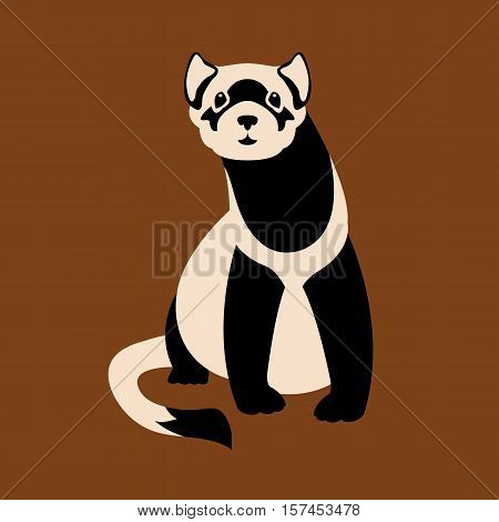 Black-Footed Ferret vector illustration style Flat front