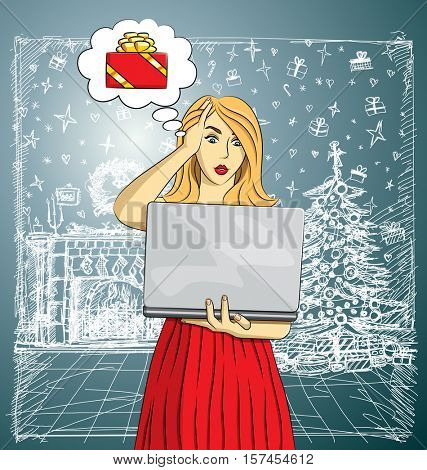Vector woman buy Christmas gifts online. Woman buy gifts. Online shopping