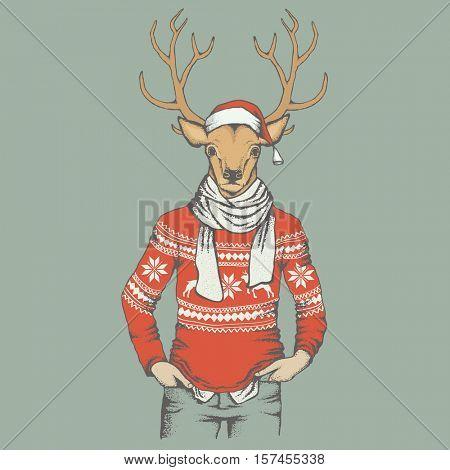 Christmas Deer vector illustration. Reindeer in human sweatshirt