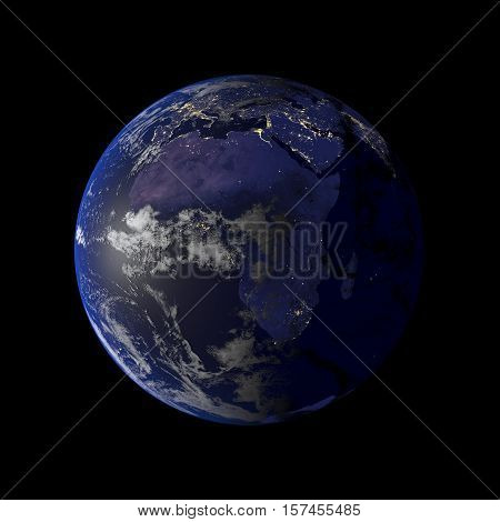 Earth Night View From Space 3D Rendering.