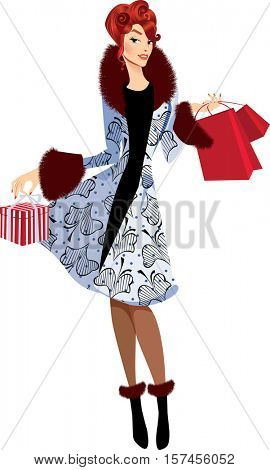 fashion girl in coat with ?hristmas gifts