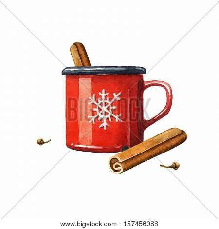 Mulled wine watercolor illustration. Isolated on white