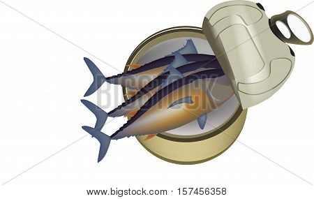 Canned tuna on white background for a quick meal