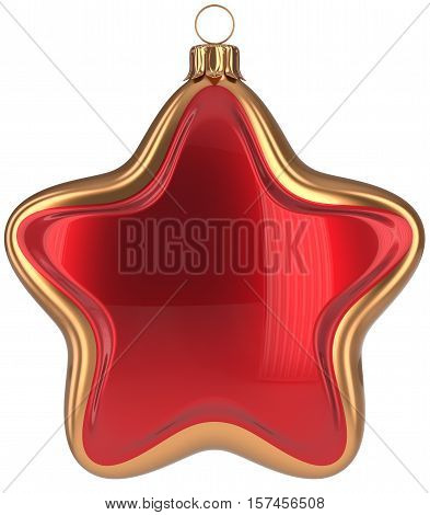 Christmas ball star shaped red golden decoration Merry Xmas hanging adornment New Year's Eve bauble. Happy wintertime holidays greeting card design element traditional decor ornament. 3d illustration poster
