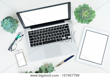 Laptop, tablet and phone with green plants mock up flat lay styled scene, top view, copy space on blank screen background