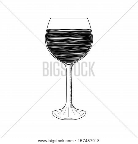 Glass of red wine, black and white sketch, isolated on white background. Hand drawn illustration.