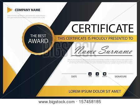 Yellow black Elegance horizontal certificate with Vector illustration white frame certificate template with clean and modern pattern presentation