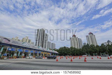 KUALA LUMPUR MALAYSIA - JULY 08 2016 : Malaysia Toll Plaza.