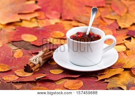 Tea with a dogrose and cinnamon. Table is covered with autumn leaves