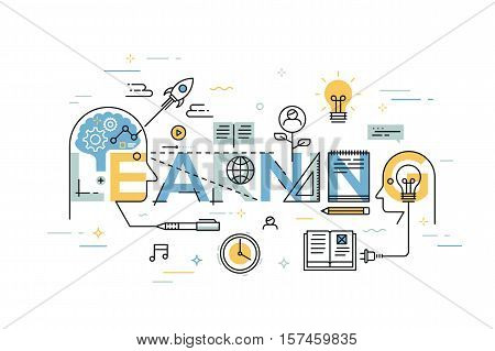 Thin line flat design banner for learning web page, exchange and development of ideas and knowledge. Modern vector illustration concept of word learning for website and mobile website banners.