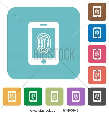Smartphone fingerprint identification flat icons on simple color square background.