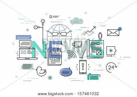 Modern thin line design concept for news website banner. Vector illustration concept for product and services information, recent events and activities information, newsletter contact form.