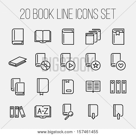 Set of book icons in modern thin line style. High quality black outline learning symbols for web site design and mobile apps. Simple linear book pictograms on a white background