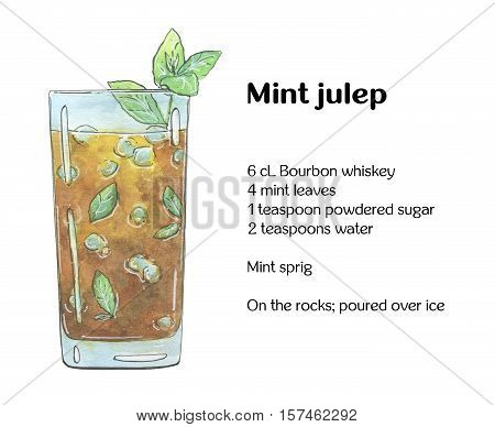 Hand Drawn Watercolor Cocktail Mint Julep On White Background