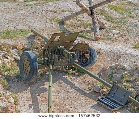 Old Russian gun cannon of period 1941-1945 years equipment of Museum