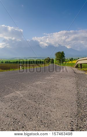 Magnificent views of the mountains and the road. Spectacular scenery. Travel road call