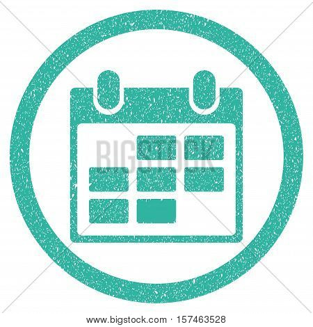 Calendar grainy textured icon inside circle for overlay watermark stamps. Flat symbol with dirty texture. Circled dotted vector cyan ink rubber seal stamp with grunge design on a white background.