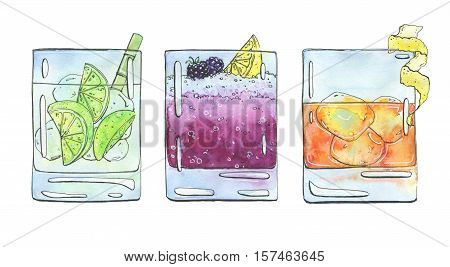 Hand Drawn Set Of Watercolor Cocktails Caipirinha Bramble Rusty Nail On White Background