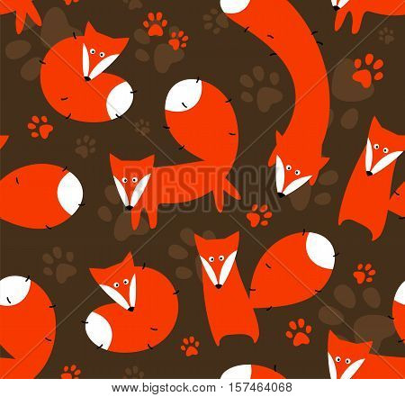 Seamless vector background with bright orange foxes.