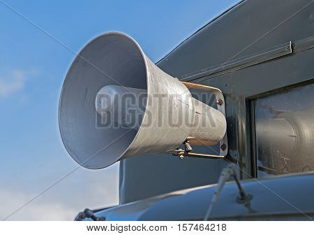 the big Megaphone on a old car