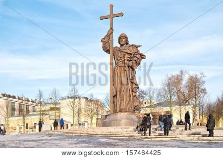 MOSCOW RUSSIA - November 20.2016: Borovitskaya Square. Monument to the prince to Vladimir Sviatoslavich the Great of Kievan Rus