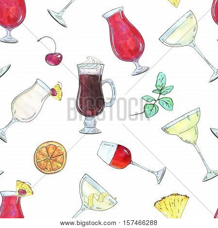 Hand Drawn Watercolor Seamless Pattern With Cocktails With Fruits And Berries On White Background