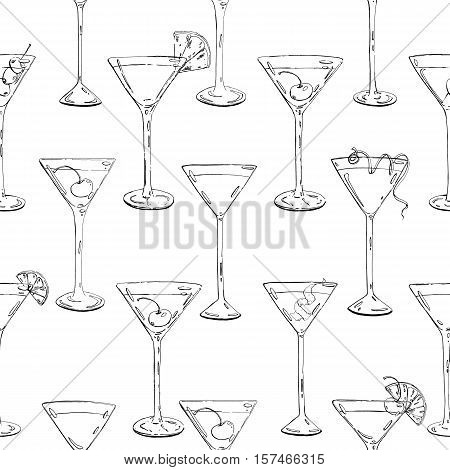 Hand Drawn Graphic Seamless Pattern Cocktails With Fruits And Berries On White Background
