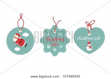 Retail Sale Tags and Clearance Tags. Festive christmas design. Santa Claus snowflakes and snowman.