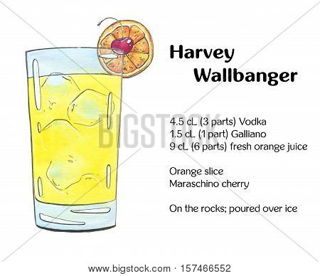Hand Drawn Watercolor Cocktail Harvey Wallbanger On White Background