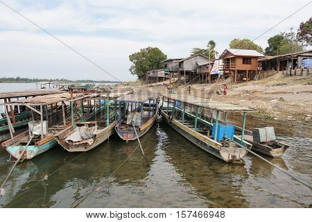 SI PHAN DON, LAOS - FEBRUARY 25, 2016: Typical village allong the Mekong river on February 25, 2016 in Laos, Asia