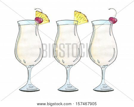 Hand Drawn Set Of Watercolor Cocktails Pina Colada  On White Background