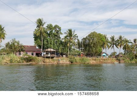 BAN KHONE, LAOS - FEBRUARY 24, 2016: Village Ban Khone on Don Khone Island within the Mekong river on February 24, 2016 in Laos, Asia