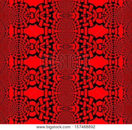 Abstract geometric seamless background. Regular ellipses ornaments deep red with black outlines, conspicuous and dominant.