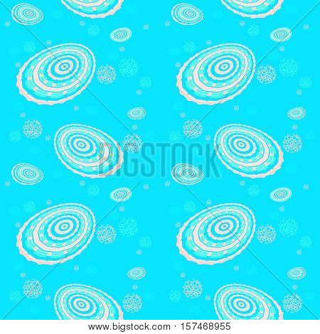 Abstract geometric seamless background. Regular concentric circles and ellipses pattern and various round elements pink on turquoise blue.