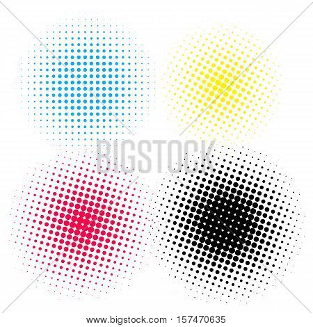 Halftone elements round dots vecto on white background