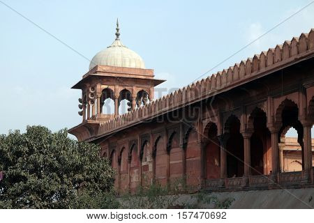 DELHI, INDIA - FEBRUARY 13 : The spectacular architecture of the Great Friday Mosque (Jama Masjid) on February 13, 2016, Delhi, India.