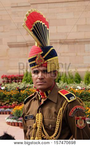 DELHI, INDIA - FEBRUARY 13 : Soldier in parade uniform at The India Gate on February 13, 2016, Delhi, India.