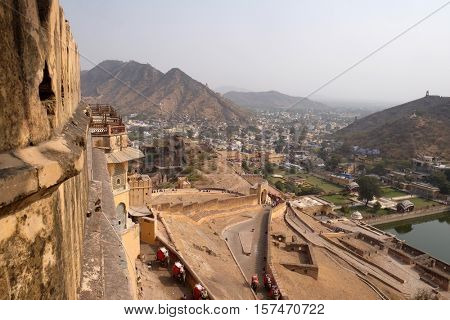 JAIPUR, INDIA - FEBRUARY 16: Aerial view of Jaipur (Pink city), Rajasthan, India, on February, 16, 2016.