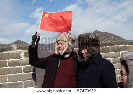 BADALING - FEBRUARY 24:  Chinese tourists visiting the Great Wall of China near Badaling, China, February 24, 2016.