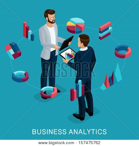 Isometric Business Analyst male businessman concept planning. Young businessman stylish hairstyle business clothes work on modern systems tablet wi-fi. Vector illustration.
