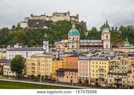 SALZBURG AUSTRIA - 17TH SEPTEMBER 2016: A high view of buildings in Salzburg Austria in the summer during an overcast day.