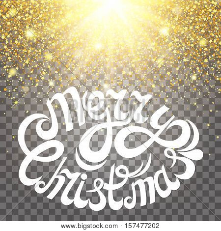 Effect of particles flying on top of the gold luster dust sparks luxury design rich background. Merry Christmas Letter. glow effect on a transparent background. Luxury gold.